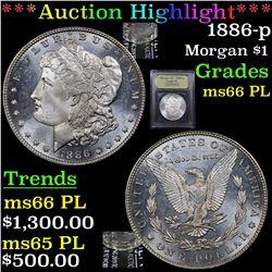 ***Auction Highlight*** 1886-p Morgan Dollar $1 Graded GEM+ UNC PL By USCG (fc)