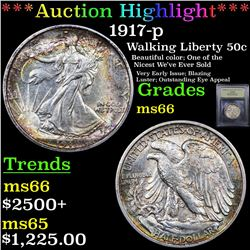 ***Auction Highlight*** 1917-p Walking Liberty Half Dollar 50c Graded GEM+ Unc By USCG (fc)