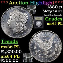 ***Auction Highlight*** 1880-p Morgan Dollar $1 Graded GEM Unc PL By USCG (fc)