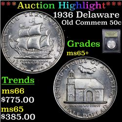 ***Auction Highlight*** 1936 Delaware Old Commem Half Dollar 50c Graded GEM+ Unc By USCG (fc)