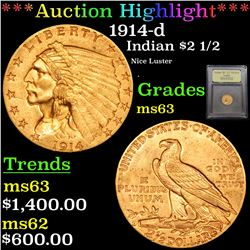 ***Auction Highlight*** 1914-d Gold Indian Quarter Eagle $2 1/2 Graded Select Unc By USCG (fc)