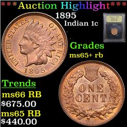 ***Auction Highlight*** 1895 Indian Cent 1c Graded Gem+ Unc RB By USCG (fc)