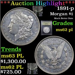 ***Auction Highlight*** 1891-p Morgan Dollar $1 Graded Select Unc PL By USCG (fc)