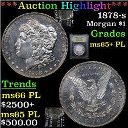 ***Auction Highlight*** 1878-s Morgan Dollar $1 Graded GEM+ PL By USCG (fc)