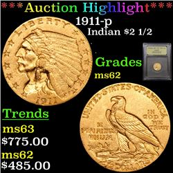 ***Auction Highlight*** 1911-p Gold Indian Quarter Eagle $2 1/2 Graded Select Unc By USCG (fc)