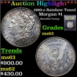***Auction Highlight*** 1880-o Rainbow Toned Morgan Dollar $1 Graded Select Unc By USCG (fc)
