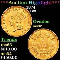 ***Auction Highlight*** 1874 Gold Dollar $1 Grades Select Unc (fc)
