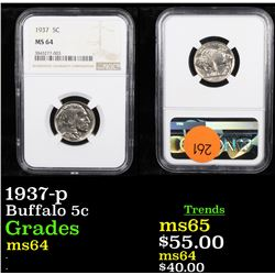 NGC 1937-p Buffalo Nickel 5c Graded ms64 By NGC