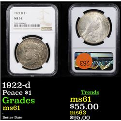 NGC 1922-d Peace Dollar $1 Graded ms61 By NGC