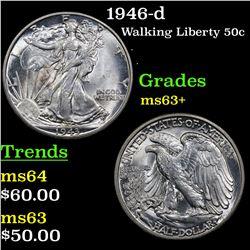 1946-d Walking Liberty Half Dollar 50c Grades Select+ Unc