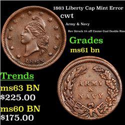 1863 Liberty Cap Mint Error Civil War Token 1c Grades Unc+ BN