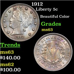 1912 Liberty Nickel 5c Grades Select Unc