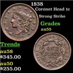 1838 Coronet Head Large Cent 1c Grades Choice AU