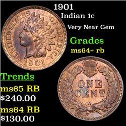 1901 Indian Cent 1c Grades Choice+ Unc RB