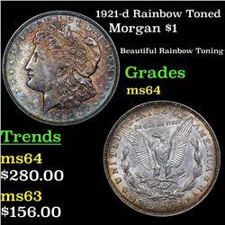 1921-d Rainbow Toned Morgan Dollar $1 Grades Choice Unc