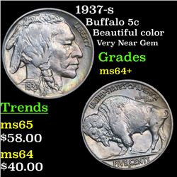 1937-s Buffalo Nickel 5c Grades Choice+ Unc