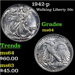 1942-p Walking Liberty Half Dollar 50c Grades Choice Unc