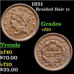 1851 Braided Hair Large Cent 1c Grades vf+