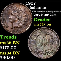 1907 Indian Cent 1c Grades Choice+ Unc BN