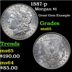 1887-p Morgan Dollar $1 Grades GEM Unc