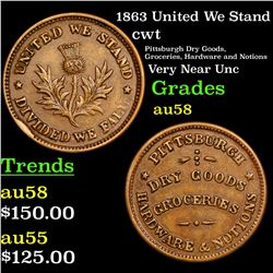 1863 United We Stand Civil War Token 1c Grades Choice AU/BU Slider