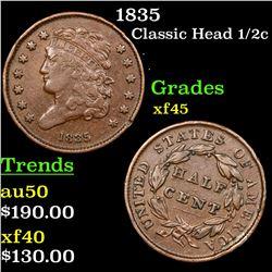 1835 Classic Head half cent 1/2c Grades xf+