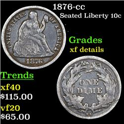 1876-cc Seated Liberty Dime 10c Grades xf details