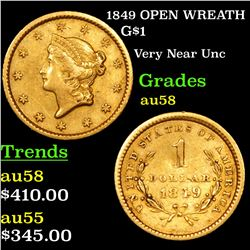 1849 OPEN WREATH Gold Dollar $1 Grades Choice AU/BU Slider