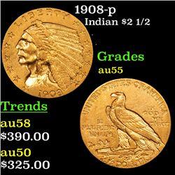 1908-p Gold Indian Quarter Eagle $2 1/2 Grades Choice AU