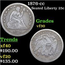 1876-cc Seated Liberty Quarter 25c Grades vf++