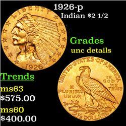 1926-p Gold Indian Quarter Eagle $2 1/2 Grades Unc Details