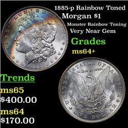 1885-p Rainbow Toned Morgan Dollar $1 Grades Choice+ Unc