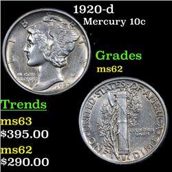 1920-d Mercury Dime 10c Grades Select Unc
