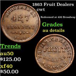 1863 Fruit Dealers Civil War Token 1c Grades AU Details