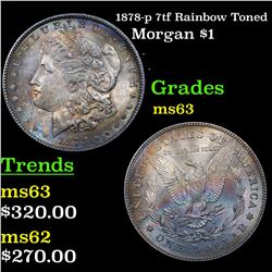1878-p 7tf Rainbow Toned Morgan Dollar $1 Grades Select Unc