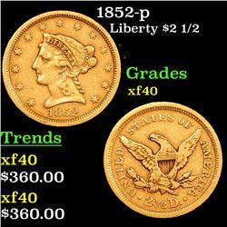 1852-p Gold Liberty Quarter Eagle $2 1/2 Grades xf