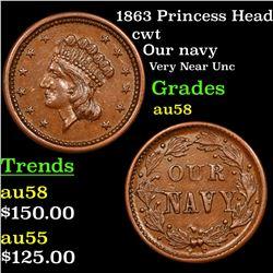 1863 Princess Head Civil War Token 1c Grades Choice AU/BU Slider