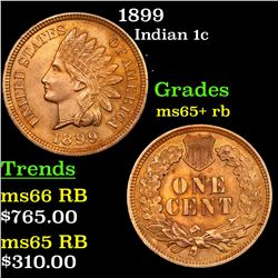 1899 Indian Cent 1c Grades Gem+ Unc RB