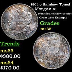 1904-o Rainbow Toned Morgan Dollar $1 Grades GEM Unc