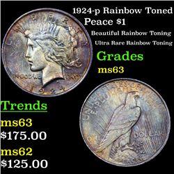 1924-p Rainbow Toned Peace Dollar $1 Grades Select Unc