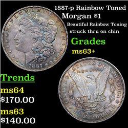 1887-p Rainbow Toned Morgan Dollar $1 Grades Select+ Unc