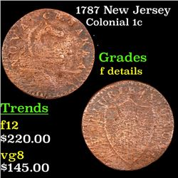 1787 New Jersey Colonial Cent 1c Grades f details