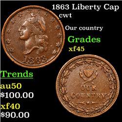 1863 Liberty Cap Civil War Token 1c Grades xf+