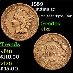 1859 Indian Cent 1c Grades vf+