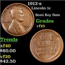 1912-s Lincoln Cent 1c Grades vf+