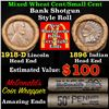Mixed small cents 1c orig shotgun roll, 1918-d Wheat Cent, 1896 Indian Cent other end, McDonalds Wra