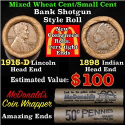 Mixed small cents 1c orig shotgun roll, 1915-d Wheat Cent, 1898 Indian Cent other end,McDnalds Wrapp