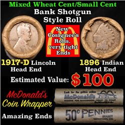 Mixed small cents 1c orig shotgun roll, 1917-d Wheat Cent, 1896 Indian Cent other end, McDonalds Wra