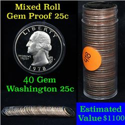 Proof Mixed Washington Quarter 25c roll, 40 pieces  1968-2009 (fc)