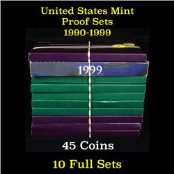 Group of 10 United States Mint Proof Sets 1990-1999 54 coins